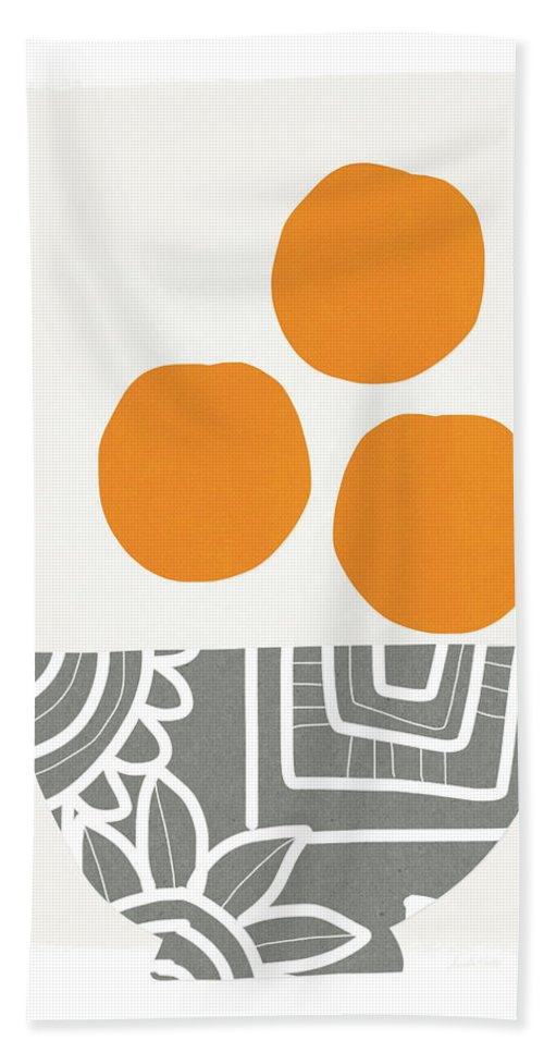 Oranges Beach Towel featuring the painting Bowl Of Oranges- Art By Linda Woods by Linda Woods