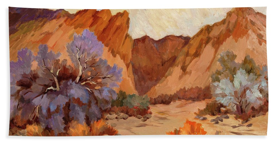 Box Canyon Beach Towel featuring the painting Box Canyon by Diane McClary