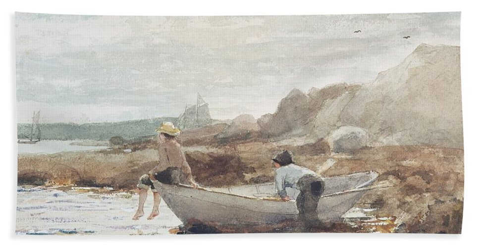 Boys On The Beach (w/c On Paper) By Winslow Homer (1836-1910) Rowing Boat; Fishing; Boy; Male; Children; Child; Playing; Summer; Coast; Coastal; Rocks; Rocky; Boat Beach Towel featuring the painting Boys on the Beach by Winslow Homer