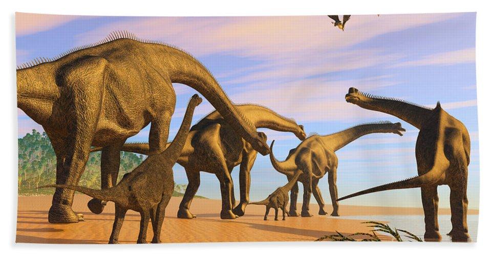 Brachiosaurus Beach Towel featuring the painting Brachiosaurus Beach by Corey Ford