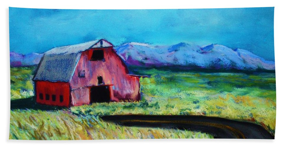 Barn Beach Towel featuring the pastel Bradley's Barn by Melinda Etzold