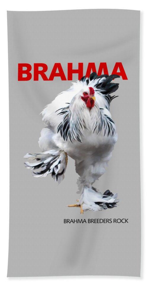 Brahma Beach Towel featuring the digital art Brahma Breeders Rock RED by Sigrid Van Dort