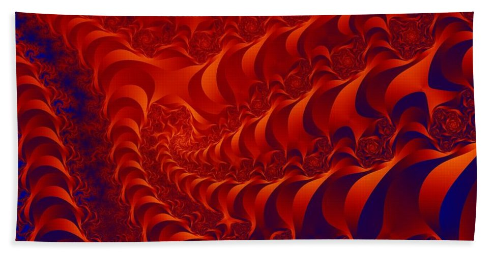 Fractal Art Beach Towel featuring the digital art Braided Red by Ron Bissett
