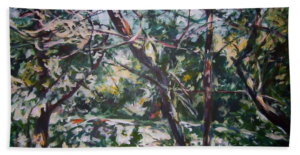 Landscape Beach Towel featuring the painting Branches Of Light by Sheila Holland
