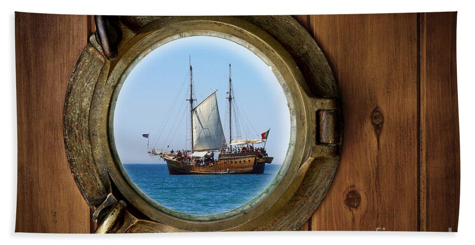 Aged Beach Towel featuring the photograph Brass Porthole by Carlos Caetano