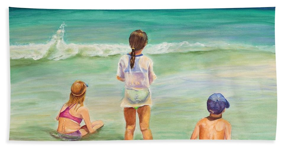 Children Beach Sheet featuring the painting Brats by Patricia Piffath