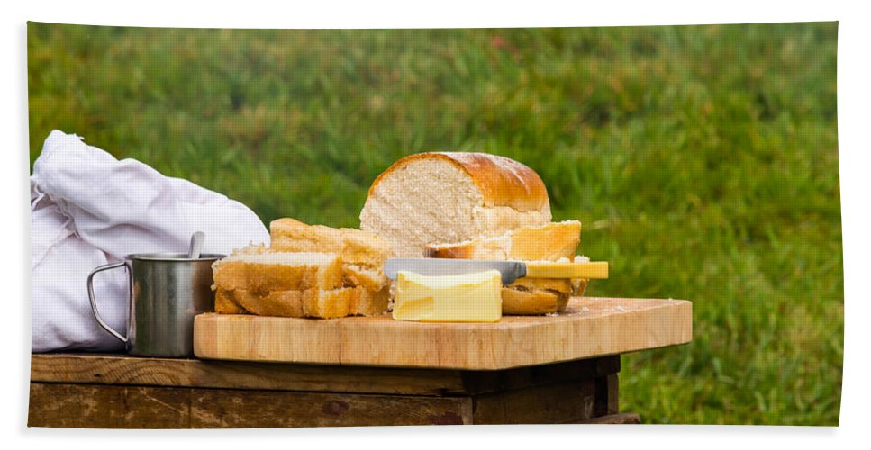 Food Photography Beach Towel featuring the photograph Bread With Butter On Cutting Board by Jacek Wojnarowski