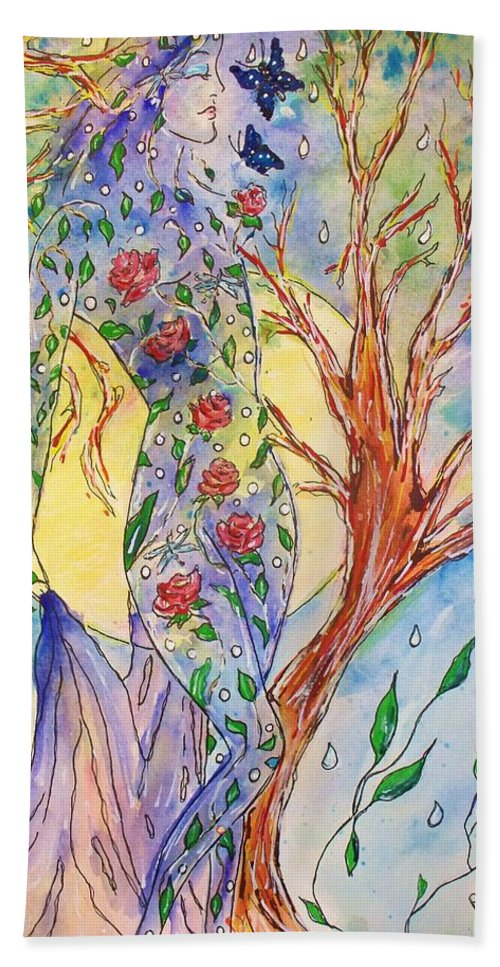 Female Figure Beach Towel featuring the painting Breath Of Life by Robin Monroe