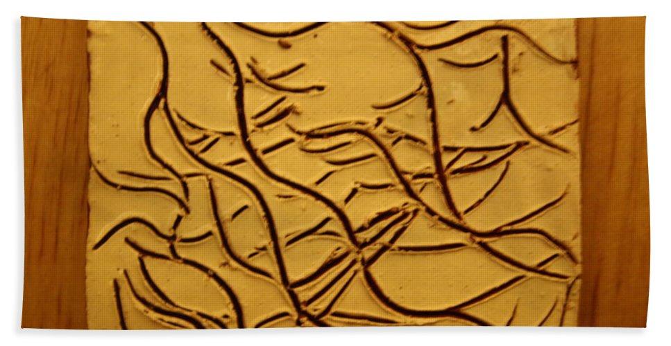Jesus Beach Towel featuring the ceramic art Breathe - Tile by Gloria Ssali