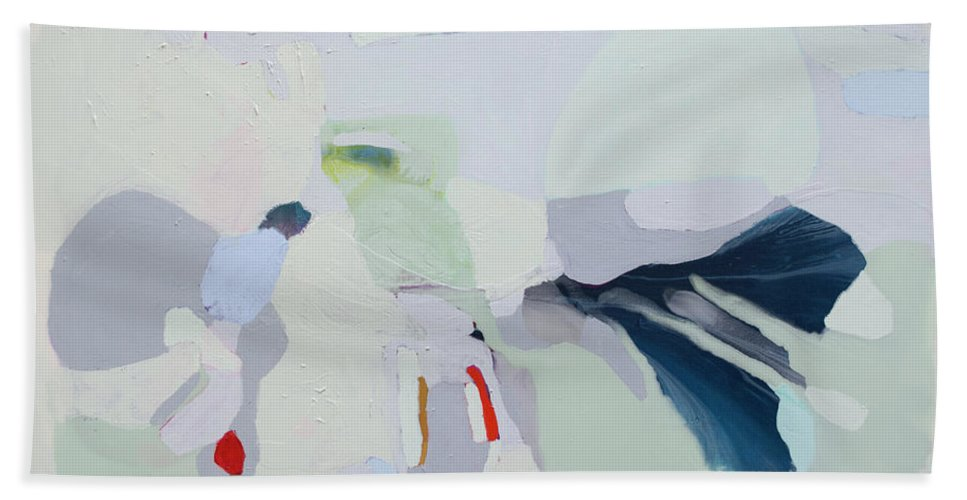 Abstract Beach Towel featuring the painting Breathe by Claire Desjardins