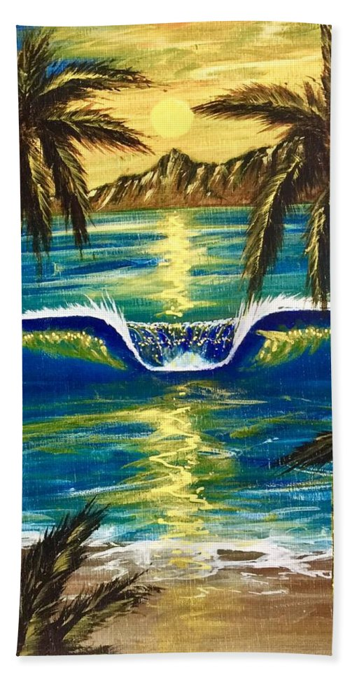 Tropical Beach Towel featuring the painting Breathe In The Moment by Paul Carter