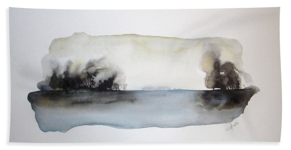 Watercolor Beach Towel featuring the painting Breeze by Vesna Antic