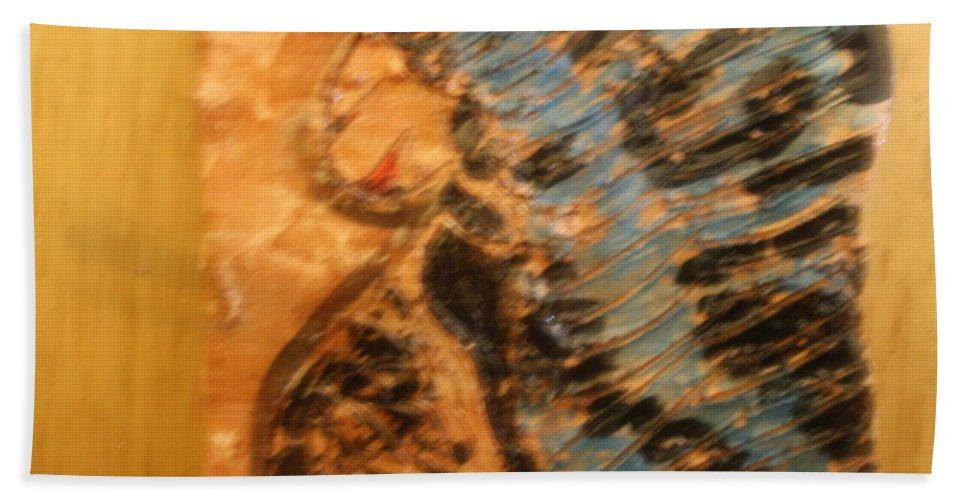 Jesus Beach Towel featuring the ceramic art Brenda -tile by Gloria Ssali