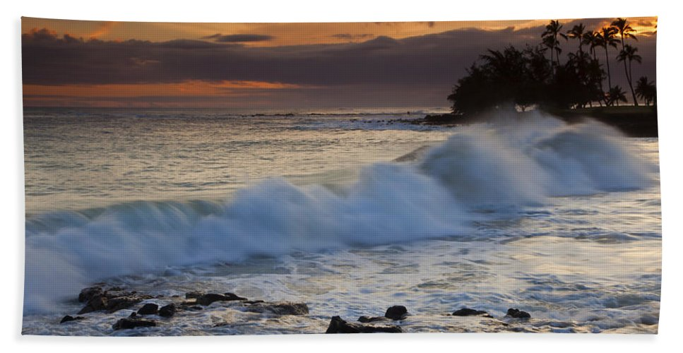 Brennecke Beach Beach Towel featuring the photograph Brennecke Waves Sunset by Mike Dawson