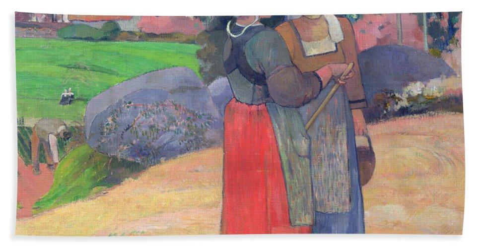 Breton Peasants Beach Towel featuring the painting Breton Peasants by Paul Gauguin
