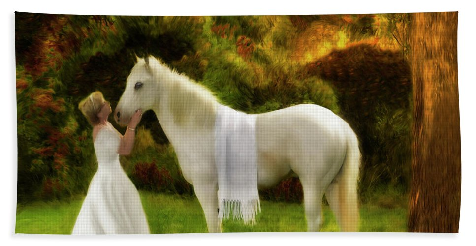 Princess Art Beach Towel featuring the painting Bridal Revival by Constance Woods