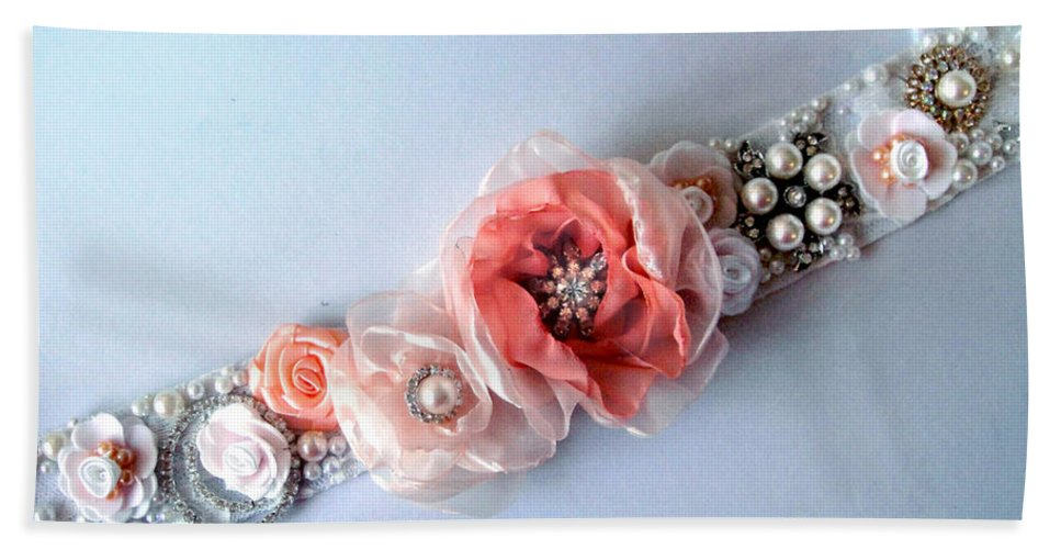 Bridal Beach Towel featuring the photograph Bridal Sash Belt With Flowers And Rhinestones by Sofia Metal Queen