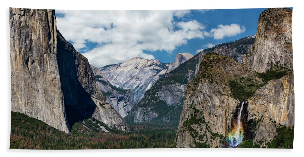 Yosemite Beach Towel featuring the photograph Bridal Veil Falls Rainbow by Daniel Kelly