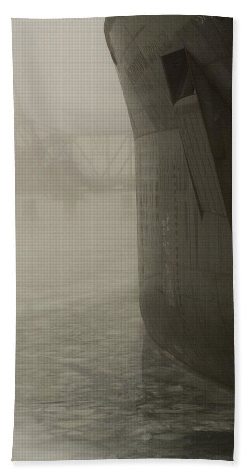 Water Beach Towel featuring the photograph Bridge And Barge by Tim Nyberg