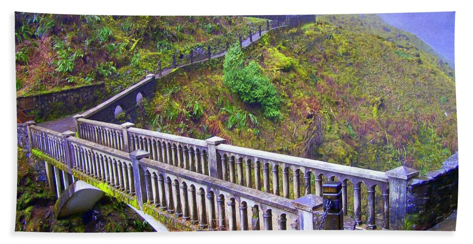 Bridge Beach Towel featuring the photograph Bridge at Multnomah Falls by Lisa Rose Musselwhite