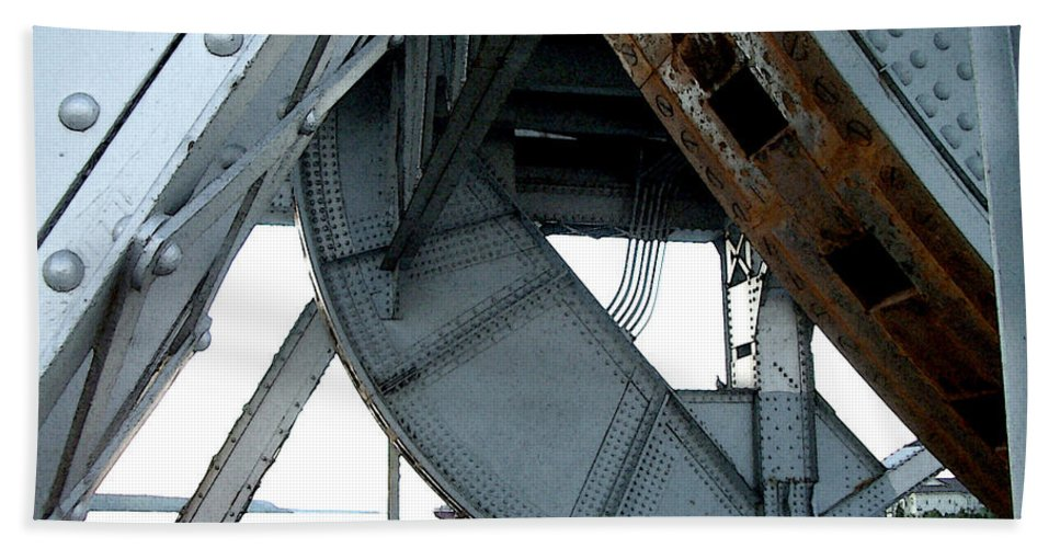 Steel Beach Towel featuring the photograph Bridge Gears by Tim Nyberg