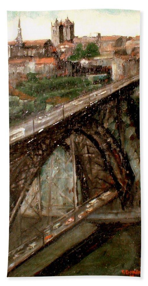Porto Beach Towel featuring the painting Bridge Luis I-Oporto by Tomas Castano