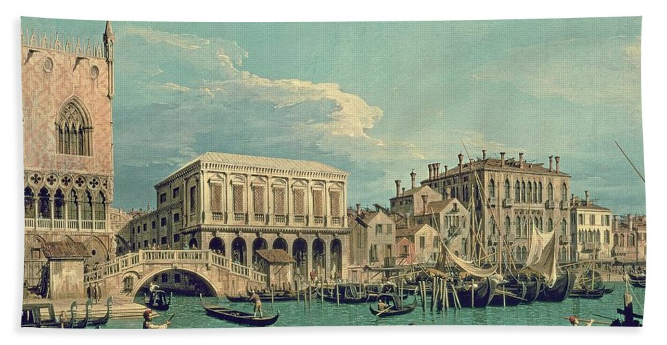 Canaletto Beach Towel featuring the painting Bridge Of Sighs by Canaletto