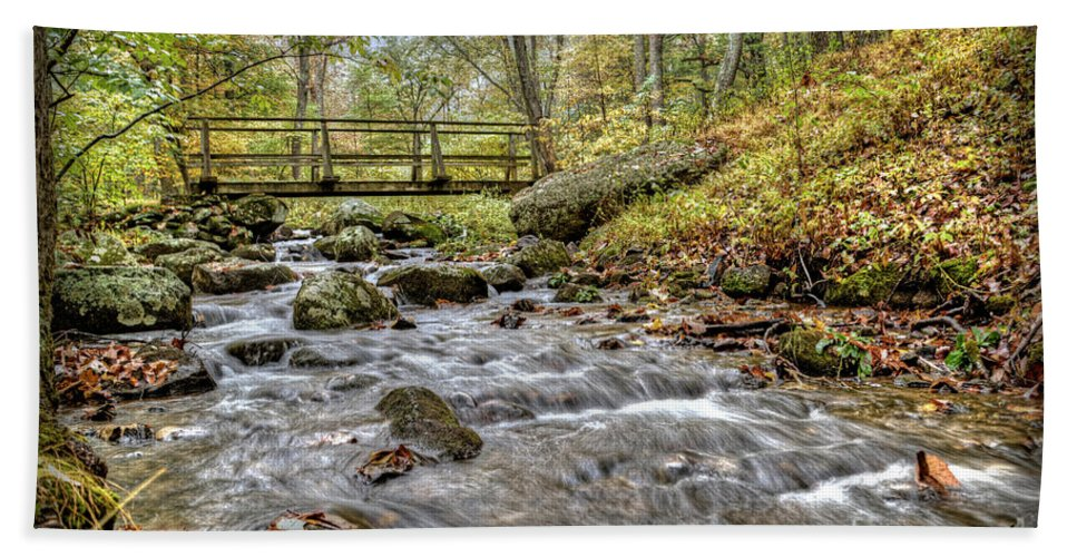 Water Beach Towel featuring the photograph Bridge Over Mountain Stream by Aaron Shortt