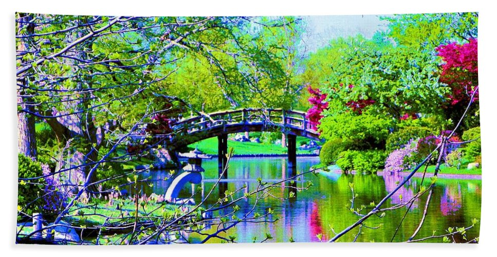 Canvas Print Beach Towel featuring the painting Bridge Over Peaceful Waters by Susanna Katherine