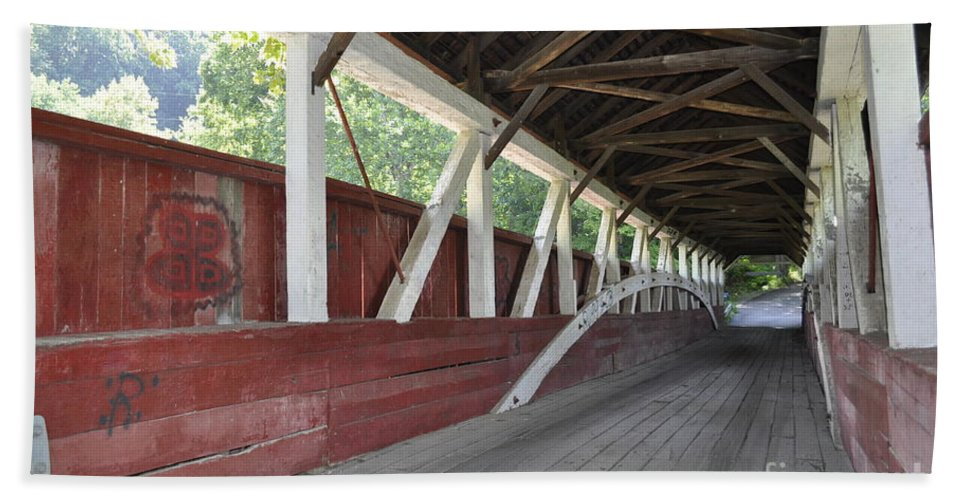 Inside A Covered Bridge Beach Towel featuring the photograph Bridge Work by Penny Neimiller