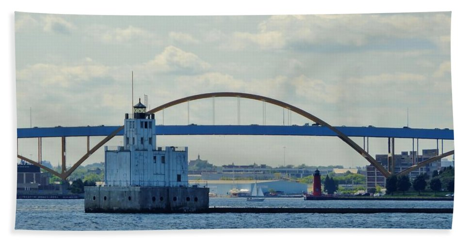 Harbor Beach Sheet featuring the photograph Bridging The Milwaukee Harbor by Red Cross
