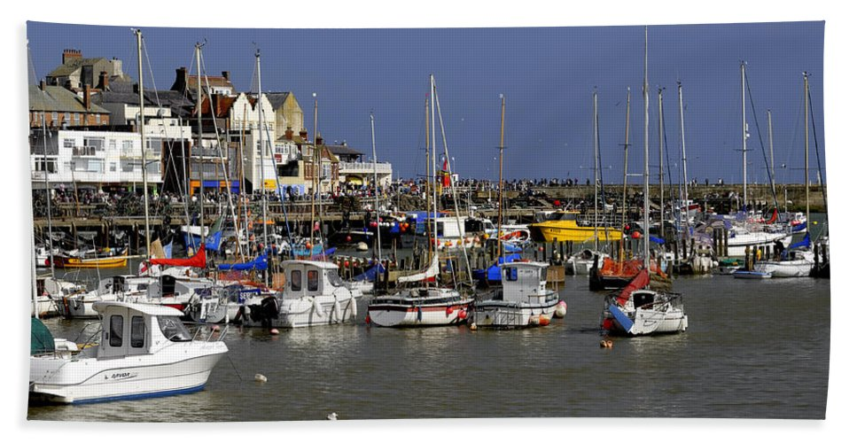 Bridlington Beach Towel featuring the photograph Bridlington Harbour by Rod Johnson