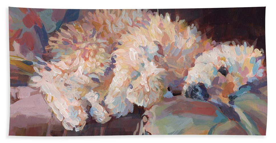 Goldendoodle Beach Towel featuring the painting Brie As Odalisque by Kimberly Santini