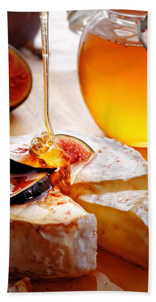 Brie Beach Towel featuring the photograph Brie Cheese With Figs And Honey by Johan Swanepoel