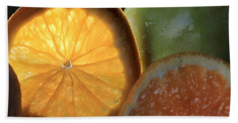 Fruit Beach Towel featuring the photograph Bright Clementine by Angela Murdock