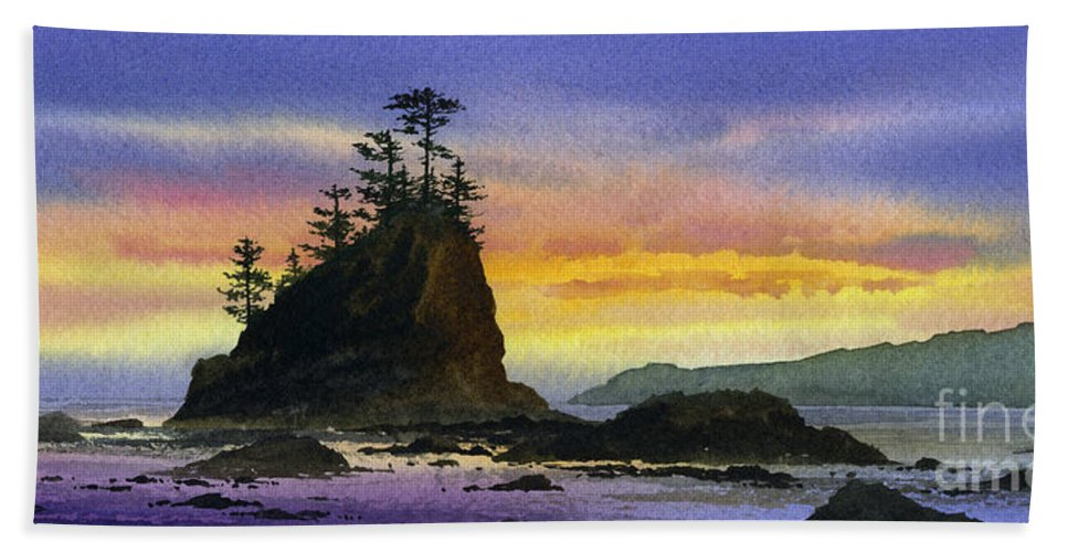 Landscape Fine Art Print Beach Towel featuring the painting Bright Seacoast Sunset by James Williamson