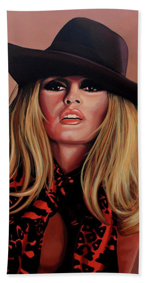 Brigitte Bardot Beach Towel featuring the painting Brigitte Bardot Painting 1 by Paul Meijering