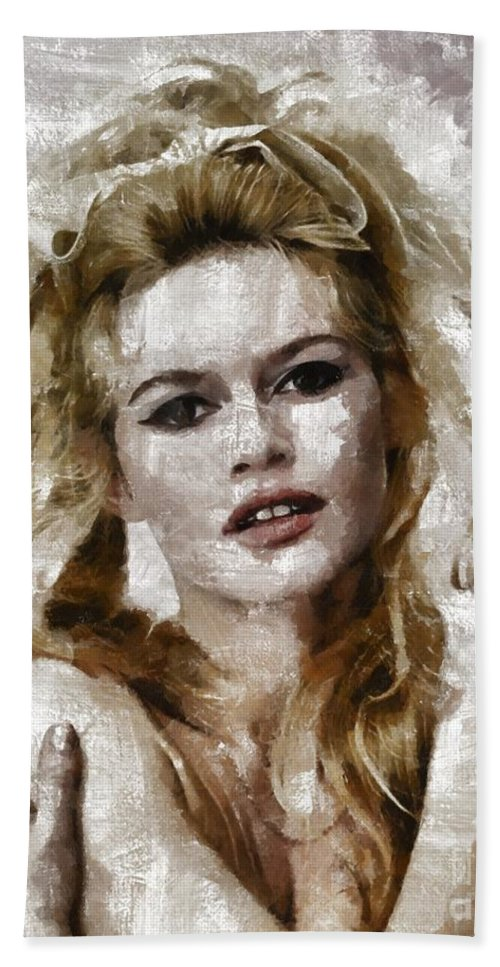 Hollywood Beach Towel featuring the painting Brigitte Bardot, Vintage Actress by Mary Bassett