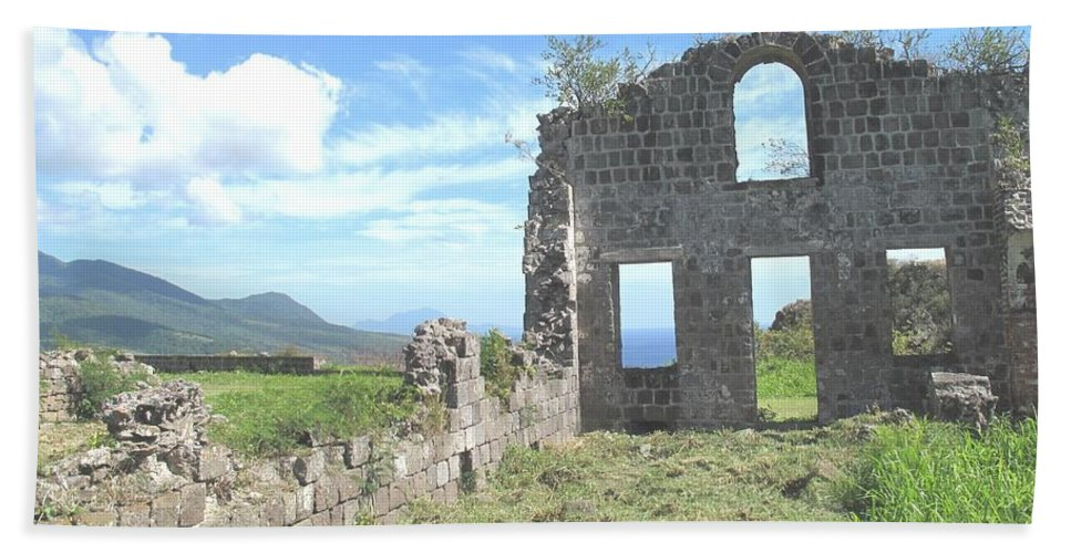 St Kitts Beach Towel featuring the photograph Brimstone Ruins by Ian MacDonald