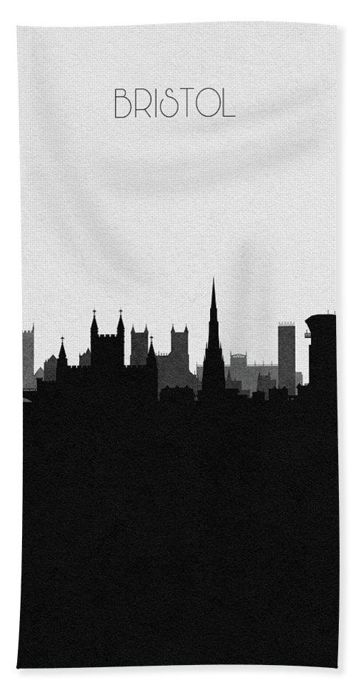 Bristol Beach Towel featuring the digital art Bristol Cityscape Art by Inspirowl Design