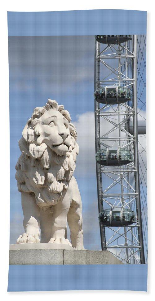 Lion Beach Sheet featuring the photograph Britannia Lion by Margie Wildblood