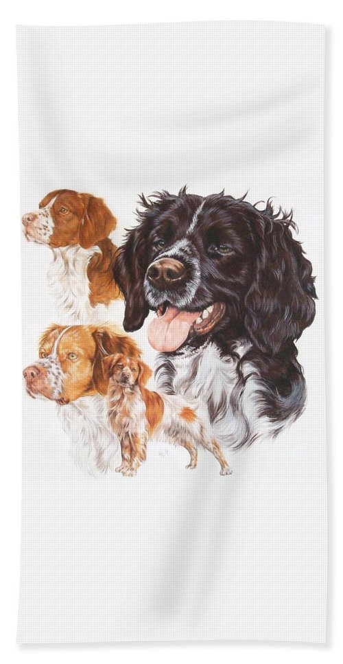 Sporting Group Beach Towel featuring the mixed media Brittany Spaniel by Barbara Keith