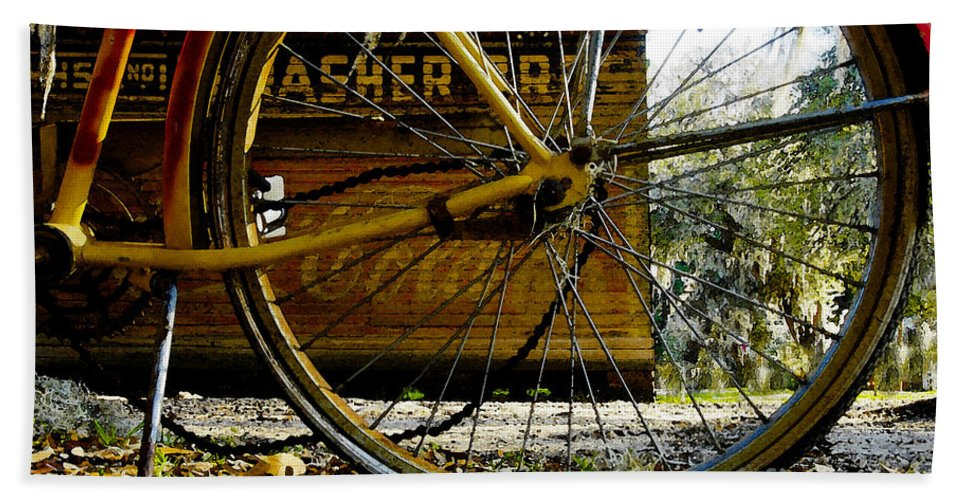 Micanopy Florida Beach Towel featuring the painting Broken Bicycle by David Lee Thompson
