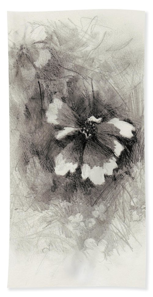 Nature Beach Towel featuring the drawing Broken Blossom by Rachel Christine Nowicki