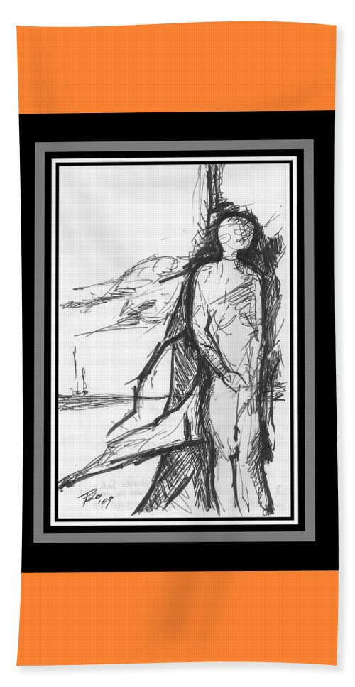 Sail Beach Towel featuring the drawing Broken Sail by PAOLO Bianchi
