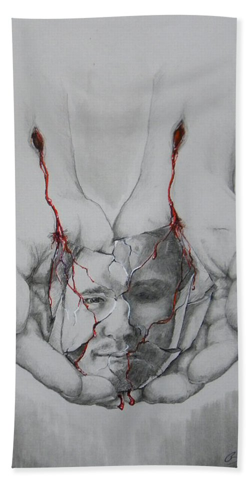 Holding Hands Beach Towel featuring the mixed media Brokenness by Beau Ettestad