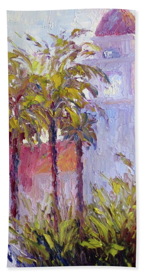 Art Beach Towel featuring the painting Bronson Mansion by Terry Chacon