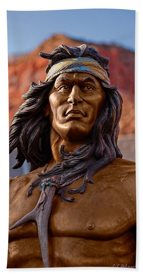 Statue Beach Towel featuring the photograph Bronze Native by Christopher Holmes