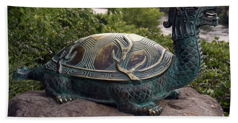 Bronze Turtle Dragon Sculpture Beach Towel featuring the photograph Bronze Turtle Dragon Sculpture by Sally Weigand