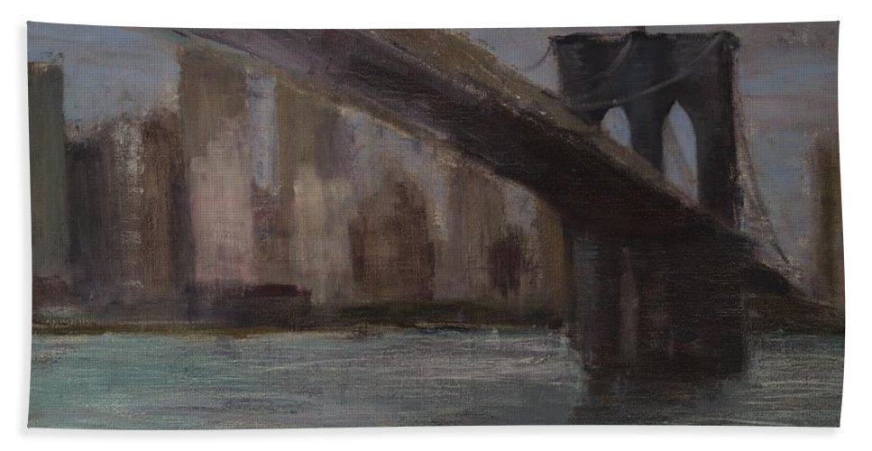 Brooklyn Bridge Beach Towel featuring the painting Brooklyn Bridge Painting by Gail Eisenfeld